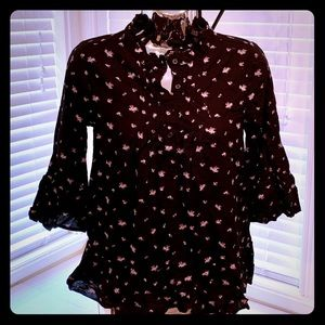 Black blouse with tiny pink floral print